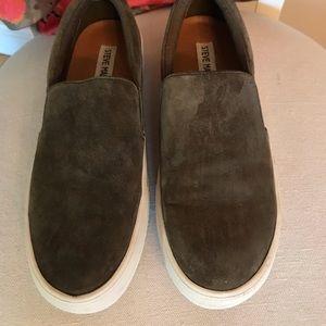Steve Madden Olive Slip-On Suede Sneaker
